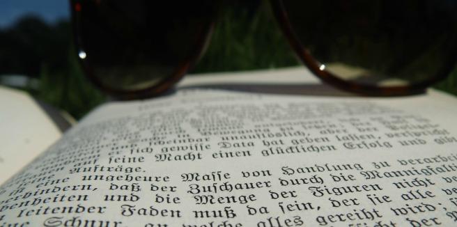 Buch und Sonnebrille